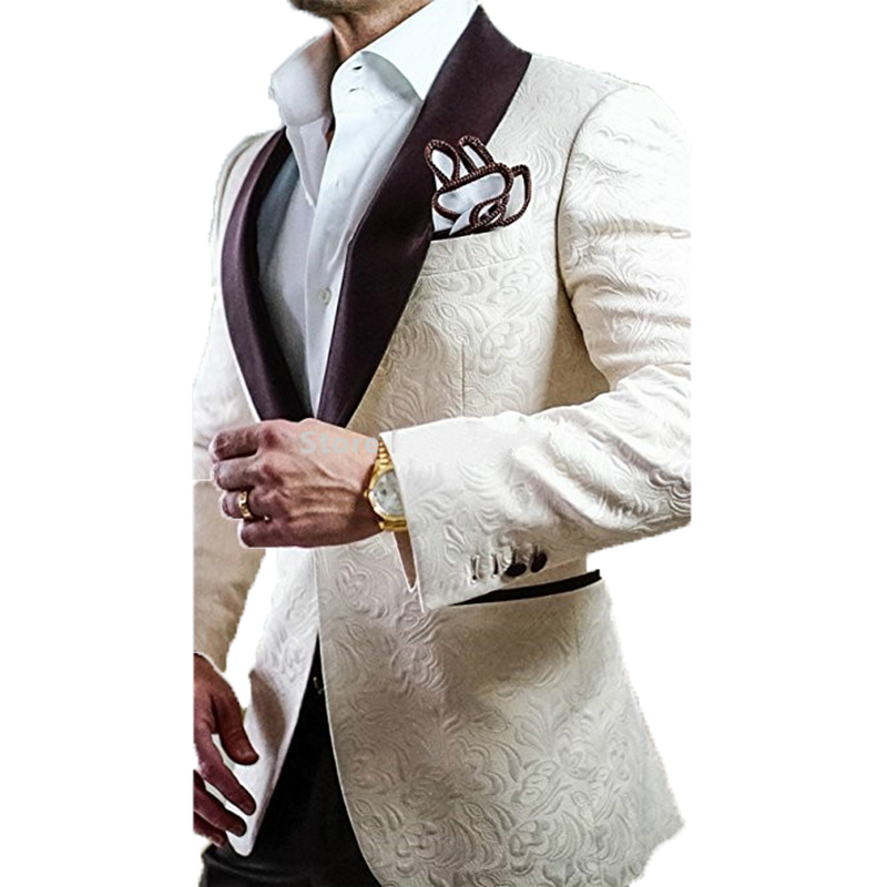 New Arrival Groomsmen Ivory Groom Tuxedos Brown Shawl Lapel Men Wedding Suits / Prom Gown Best Man Blazer (Jacket +Pants + Tie)