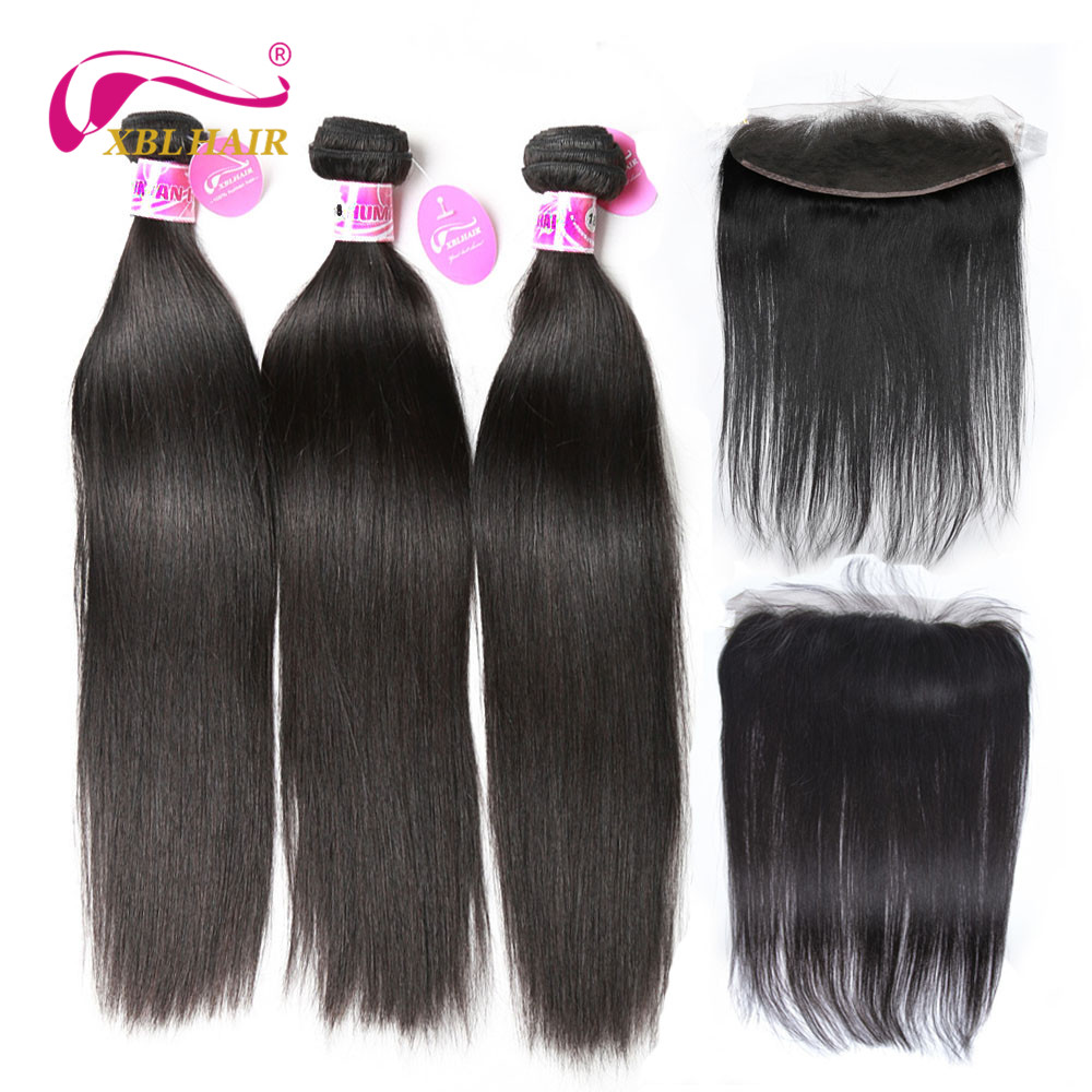 XBLHAIR Peruvian Straight Human Hair Bundles With Frontal Remy Hair Lace Frontal Closure with Bundles Natural Color