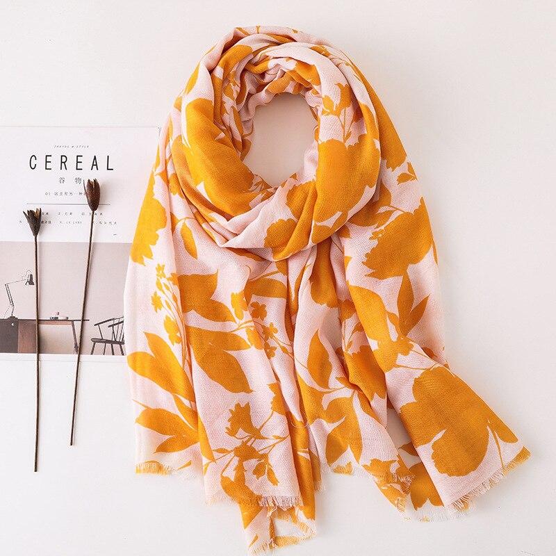 Women Cotton Scarf Leaves Fashion Large Soft Hijab Long Stylish Yellow Shawl Blanket Wrap [3507]