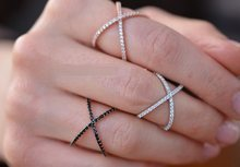 Sterling Silver 925 Criss Cross X Cross Rings, Cross Rings, thin CZ rings,women wedding Micro Pave Ring(China)