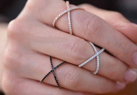 Sterling Silver 925 Criss Cross X Cross Rings, Cross Rings, thin CZ rings,women