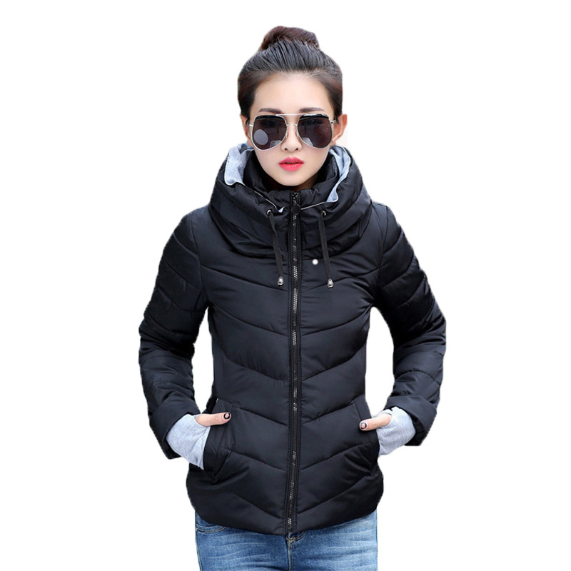 JRNNORV Winter Jacket women Plus Size Womens   Parkas   Thicken Outerwear Solid Hooded Coats Short Female Slim Cotton Padded Basic