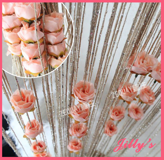 Free Shipping Rose Curtain 100*200cm Romantic Rose Flower String/Rose Flower  T Design