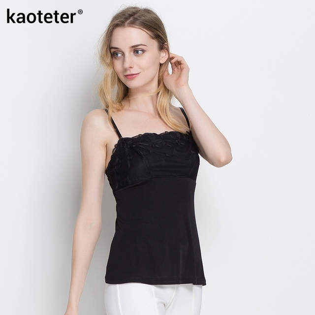 29a988eb2e 100% Pure Silk Women s Camisoles Female Lace Inner Camis Sleeveless  Adjustable Straps Women Sexy Sling