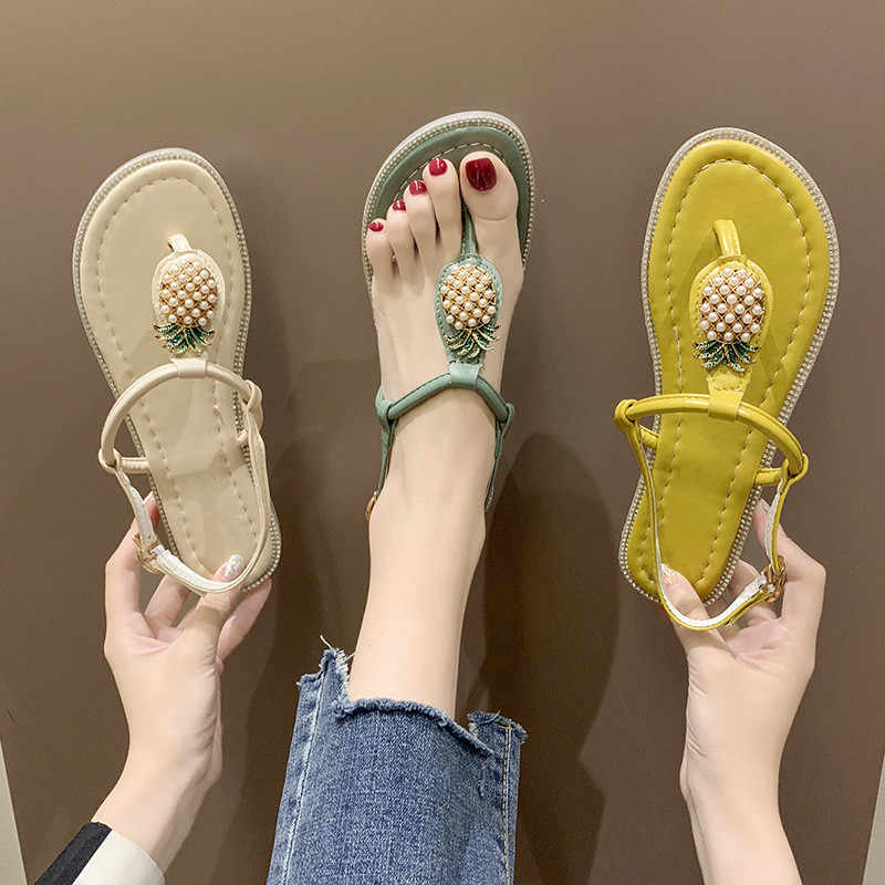 Flip Flops Gladiator Sandals Shoes Beach Cross Pineapple Summer Style Sandals Woman Slip On Flats Casual Women Shoes Size 35-39