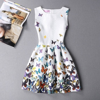 2016 new summer style dress 0113 casual printing party women vintage fashion sexy dress butterfly bodycon 11 color A line dress