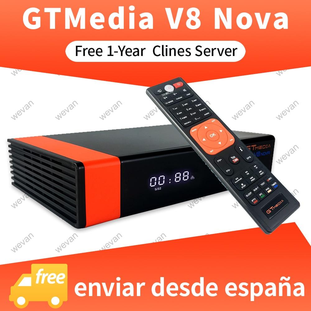 1 an Europe Cline véritable Freesat GTMedia V8 Nova Full HD DVB-S2 récepteur Satellite même V9 Super mise à niveau de V8 Super déco