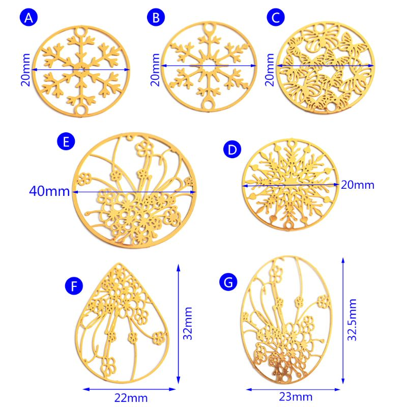 DIY Filler Epoxy Resin Decoration Copper Hollow Floral Mold Making Accessories Jewelry Molds Golden Necklace Round Water Drop