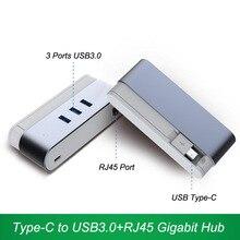 Haute Vitesse USB Type-C à USB3.0 + RJ45 Hub USB3.1 Type C 1000 Mbps Ethernet Lan Adaptateur USB-C OTG Combo Pour Macbook Ordinateur Portable Mobile