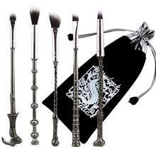 In Stock 5PCS Harry Potter Wand Makeup Brushes Set Wizard Cosmetics Make Up metal plastic handle Blending Wands Brush For Makeup(China (Mainland))