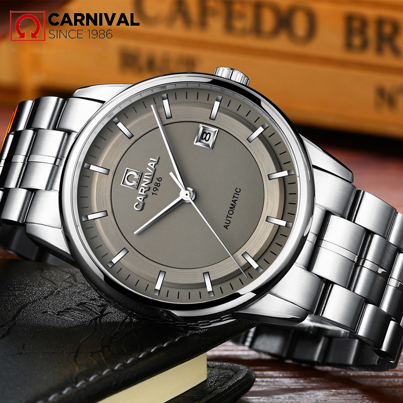 Reloj Hombre 2017 CARNIVAL Luxury Brand Mens Automatic mechanical Watches Men Casual fashion business Clock Watch men Relogio mens watches top brand luxury 2017 aviator white automatic mechanical date day leather wrist watch business reloj hombre