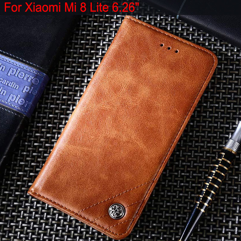 phone case for xiaomi mi 8 mi8 lite se funda Leather Flip cover with Stand for xiaomi mi 8 lite case coque Without magnets capa