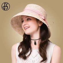 FS Elegante Mulheres Chapéus De Palha de Ráfia Com Arco Aba Larga Bowler Hat  Rosa Azul de Verão Tampão da Viseira de Sol Da Prai. ae130043881
