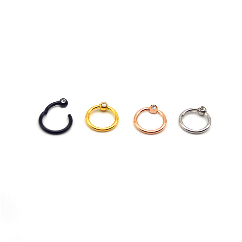 Hinged Segment Ring Nose Ring Septum Hoop Nipple Clicker Ear Cartilage Tragus Helix Lip Body Piercing 16g Rose Gold 316L S