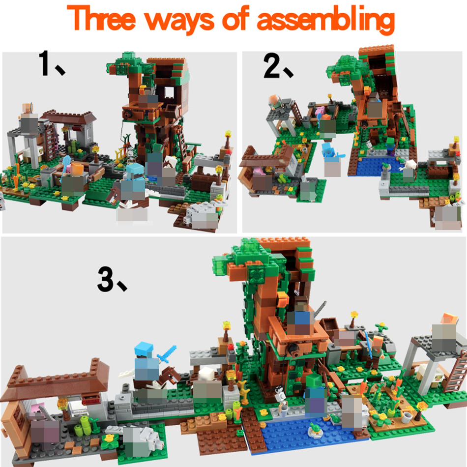 My World Village Building Blocks Castle Kids Toys Gift Compatible Legoing Minecrafted City Building Blocks For Boy Gift qunlong 410pcs my world camilla village minecrafted building blocks sets educational bricks toys for kids compatible legos city