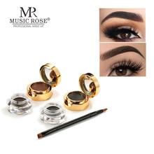 Music Rose 2 In 1 Eyebrow Eyeliner Cream Cosmetic Waterproof Lasting Black Brown Natural EyeLiner Makeup With Brush