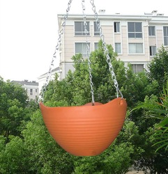Small large green beige purple tangerine self watering hanging planter with chains.jpg 250x250