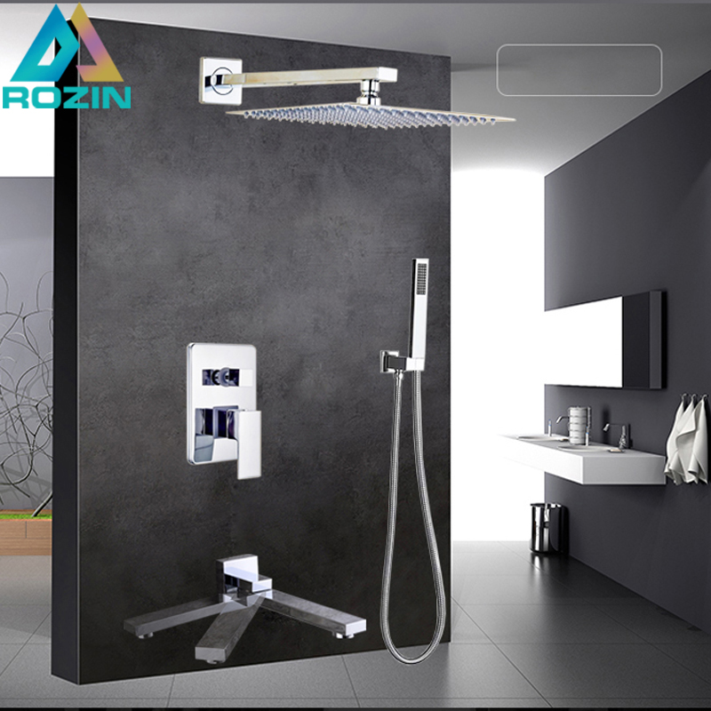 Large Rain 16 Shower Faucet Square Stainless Steel Shower Head Bath Shower Mixers with Handshower Wall Mount Shower Arm