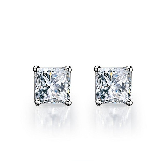 2ct Piece Affordable Excellent Princess Cut Synthetic Diamonds Stud Earrings Promise Jewelry For Birthday