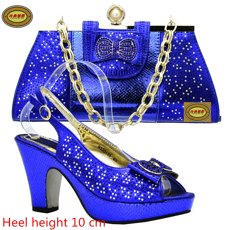 ds11 Royal Blue High Quality African Wedding Shoes Matching Bag Set Newest Rhinestone Italian Shoes And Bag Set Free Shipping free shipping newest shoes matching bags royal blue italian designer shoes and bags ct16 06