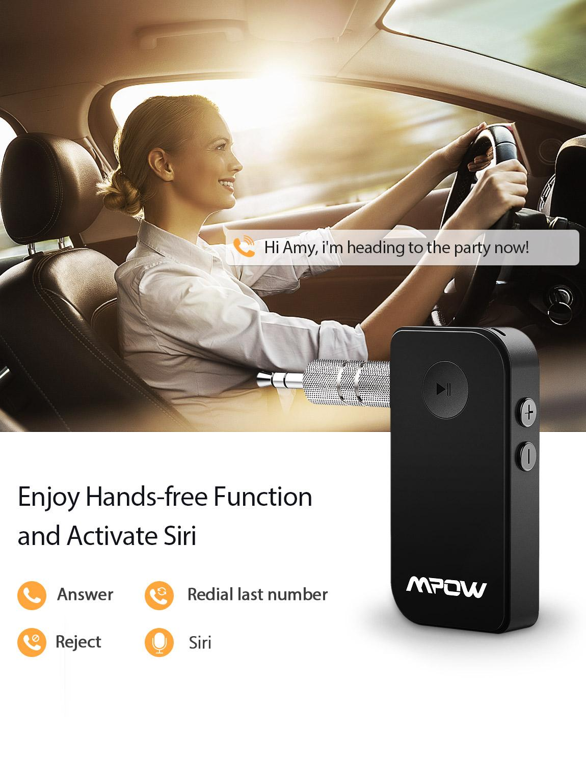 Mpow Upgraded Bluetooth Wireless 5 0 Receiver Audio Adapter Bluetooth Car Kit for Music Hands free Call Car Stereo System in Wireless Adapter from Consumer Electronics