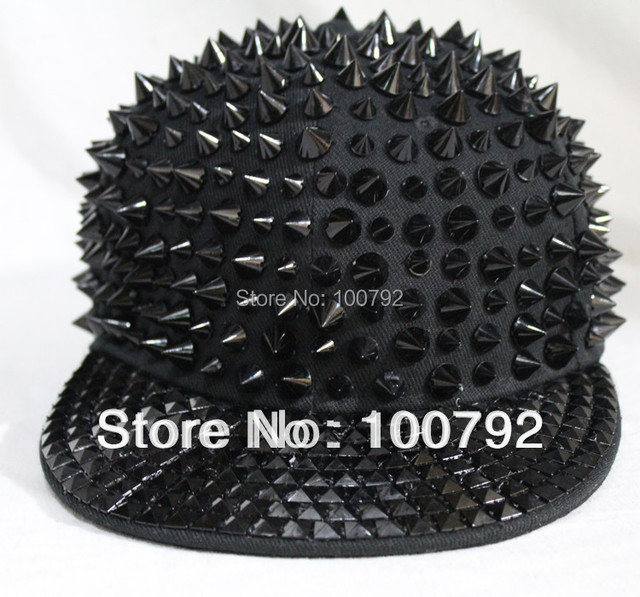 Free Shipping unisex rivet spike stud baseball cap punk rock hiphop street dancing hat handmade full rivet cool black spike cap