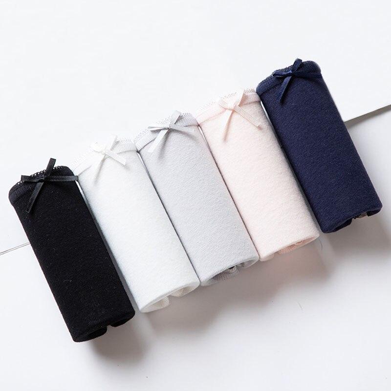 4pcs/lot Sexy   Panties   Women Cotton Breathable Underwear Briefs for Female Bow Seamless Low Waist Lingerie Pants Solid color