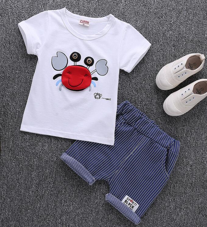 Одежда для новорожденных малышей Комплект летние детские футболки + штаны; костюм для маленьких мальчиков Костюмы верхняя одежда спортивны...