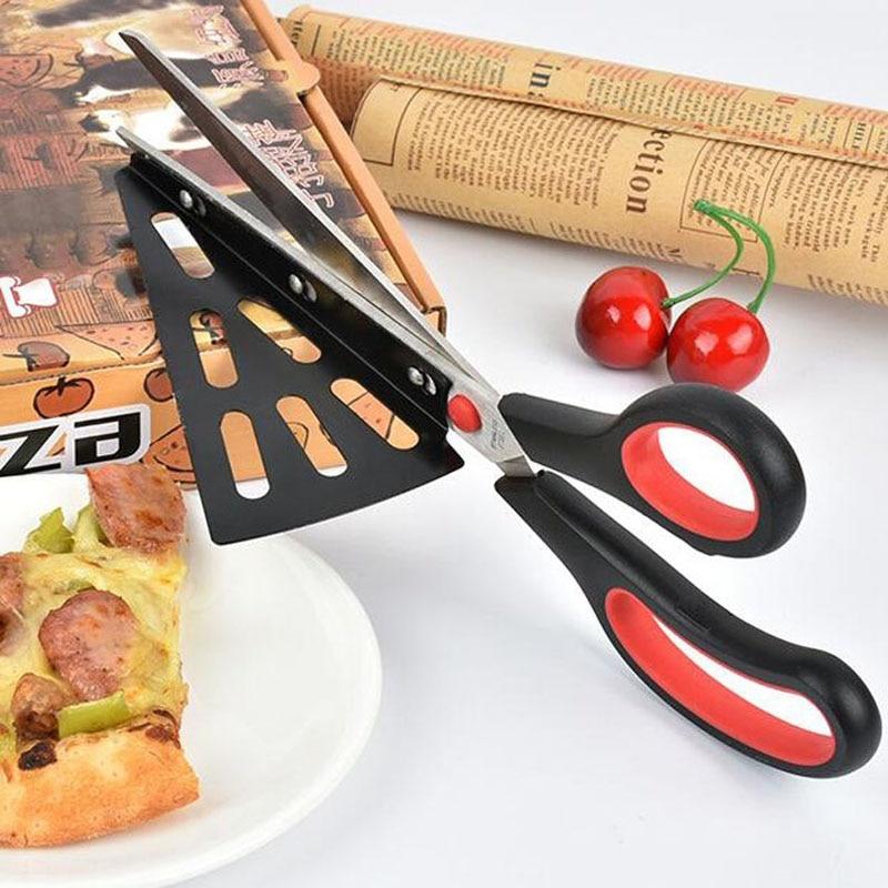 Pizza Scissors Knife Stainless Steel Pizza Shovel Scissors Bread Cutter Plastic Handle...