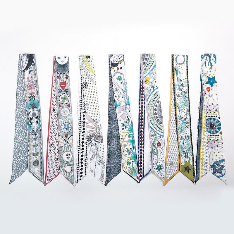 New Design Luxury Brand Twill Silk Small Women Scarf Tarot Hair Bags Handle Decoration Tie Multifunction Hand Ribbon Scarf M296