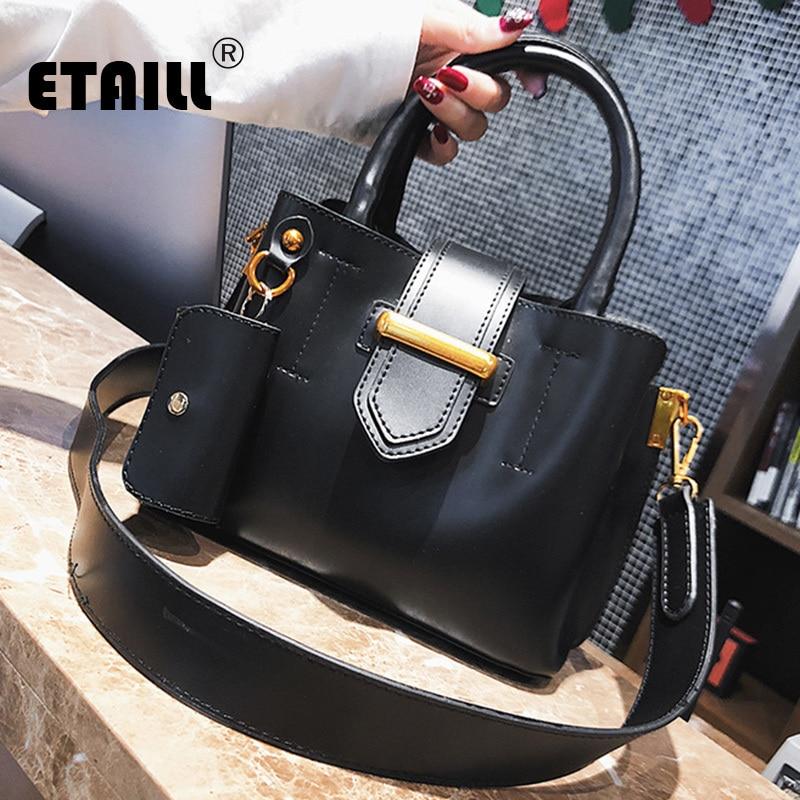 ETAILL Winter Luxury Brand Women Bucket Bag 2018 Ladies Designer Top Handle Wide Strap Shoulder Handbags Purse Tote Shopping Bag cropped wide sleeve top