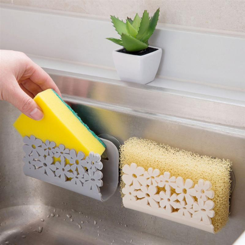 Sponge Holder With Suction Cup Sink Organizer Plastic Soap Dishwashing Drainer Rack Kitchen Storage Shelf