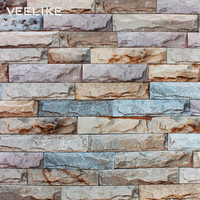 Rustic Vintage 3D Brick Wallpaper Roll Vinyl PVC Retro Brick Wall Living Room Wall Paper Waterproof Wallpaper for Bedroom Decor