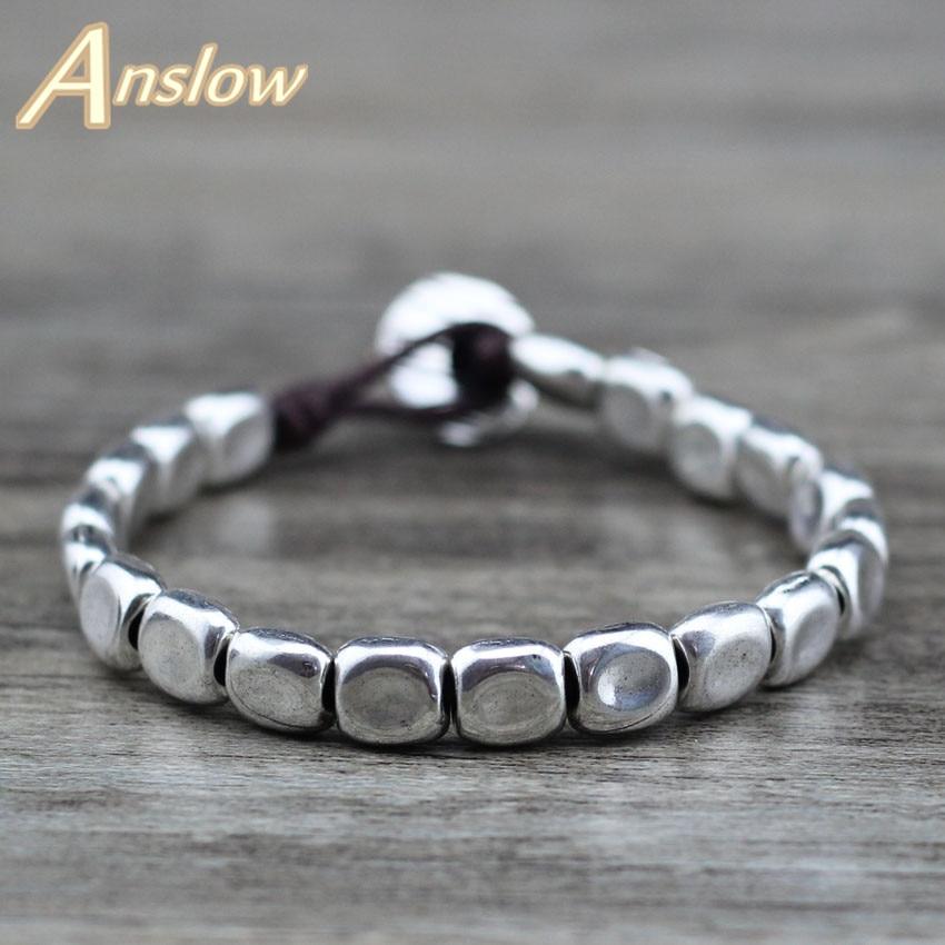 Anslow Heißer Vintage Klassische Mode Schmuck Neue Freund Paar Frauen Charme Seil Antike Silber Perlen Armband Geschenk LOW0710LB