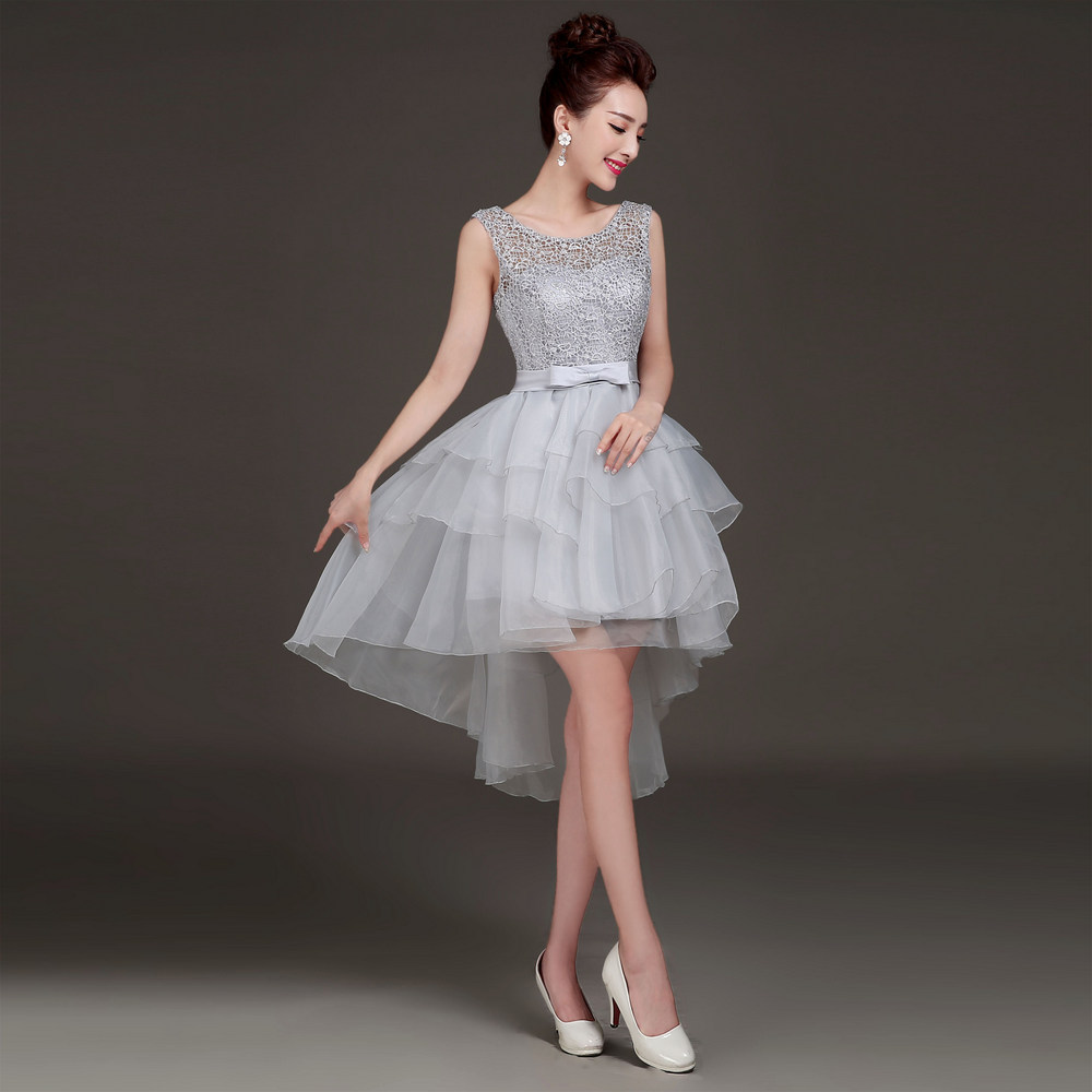 2015 new arrival elegant grey front short back long for Wedding and formal dresses