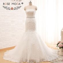 Rose Moda Strapless Plus Size Mermaid Wedding Dress