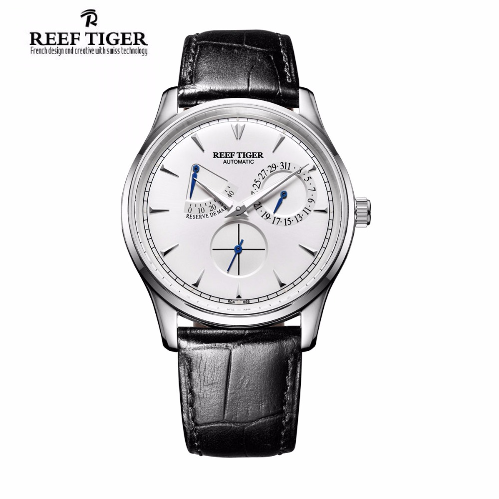 Reef Tiger/RT Elegant Watch For Men Power Reserve Complete Calendar Small Seconds Steel Automatic Watch RGA1980 2x yongnuo yn600ex rt yn e3 rt master flash speedlite for canon rt radio trigger system st e3 rt 600ex rt 5d3 7d 6d 70d 60d 5d