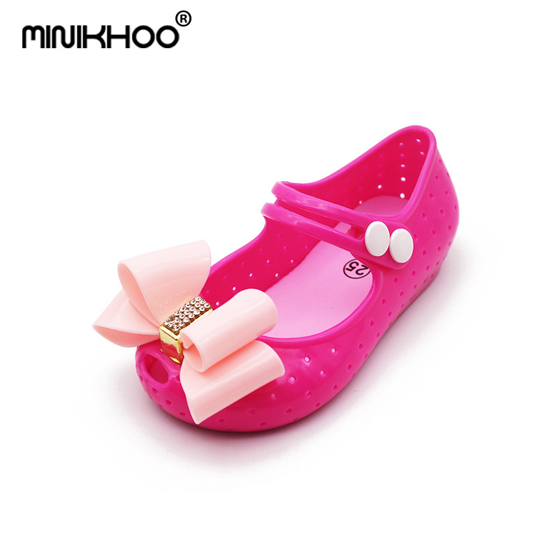 Mini Melissa Glitter Bow Cute Girls Jelly Sandals 2018 New Children Shoes Non-slip Melissa Girls Beach Sandals High Quality