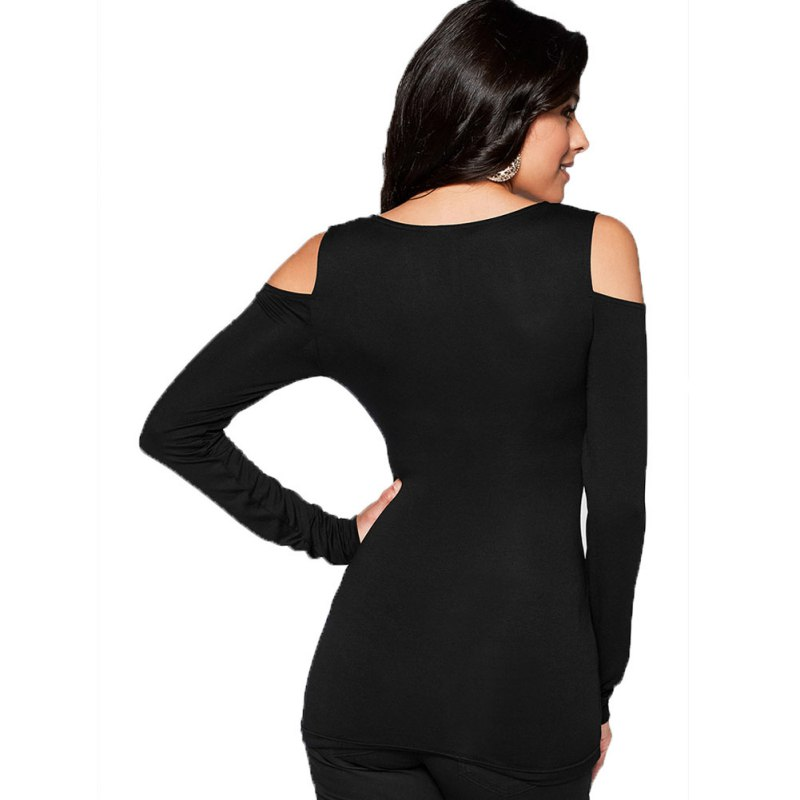 97418b80ff3505 Slim Soft Women T Shirts Spring Bottoming Shirt Fitted Bodycon Shoulder Cut  Out V Neck Shirts Hot!-in T-Shirts from Women's Clothing on Aliexpress.com  ...