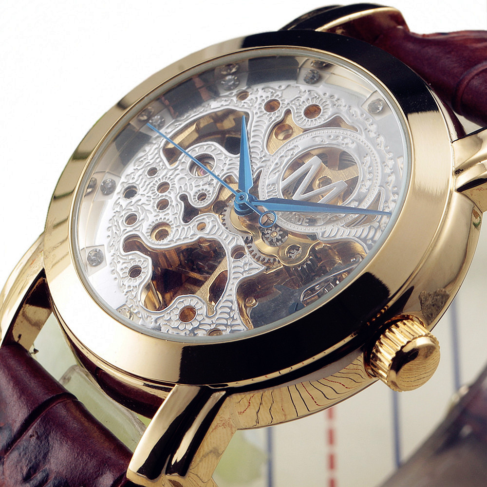 ᗐluxury brand male casual antique clock automatic mechanical