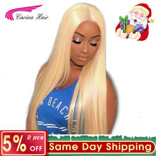 Carina Hair Brazilian Remy Human Hair 150% Density Pure 613 Blonde Lace Front Wigs With Baby Hair Bleached Knots Free Part(China)
