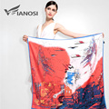 [VIANOSI]  Fashion 100*100CM Satin Square Scarf High Quality Print Silk Scarves Soft Shawl Brand Hijab Accessories VA040