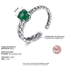 Fashionable 925 Sterling Silver Open Ring Green Crystal Design