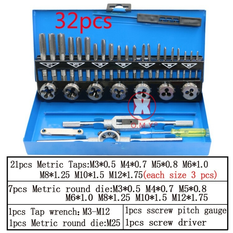 32PCS Tap & Die Kits M3~M12 Straight Flute Hand Tap wrench Die wrench Holder Car Motorcycle Maintenance tools Tap Die Tools sets 20pcs m3 m12 screw thread metric plugs taps tap wrench die wrench set