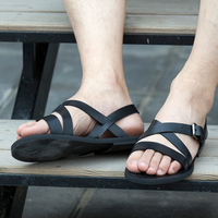 Soft leather Brown Black Flip flops Comfortable Strap Summer Beach Gladiators Male Sandals