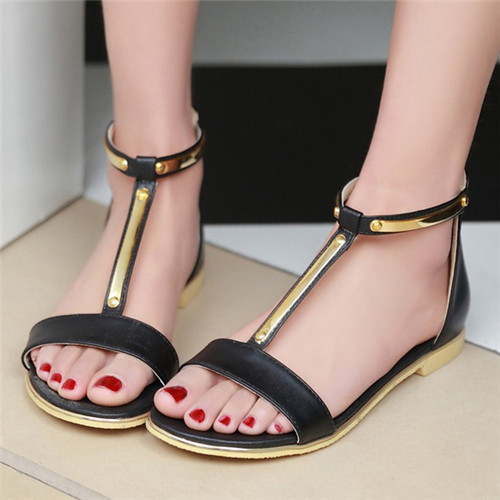 Large Size 41 42 Fashion Women's Sandals Summer Open Toe T-Strap Flats Female Zip Sequined Black Shoes 6805