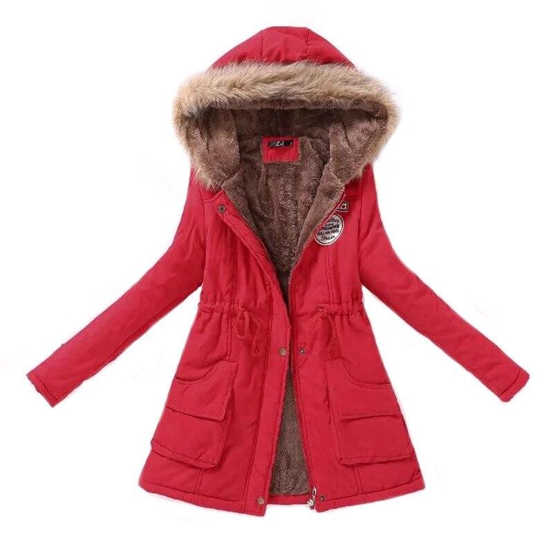 Women Parka Fashion Autumn Winter Warm Jackets Women Fur Collar Coats Long Parkas Hoodies Office Lady Cotton Plus Size 2