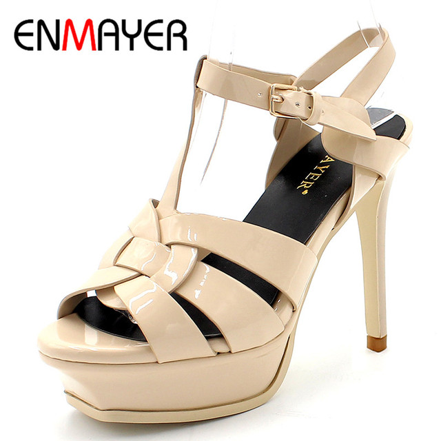 9cc858b9779e ENMAYER Quality Genuine Leather High Heel Sandals Women Sexy Footwear Lady  Shoes White Shoes Platform Party Wedding Shoe