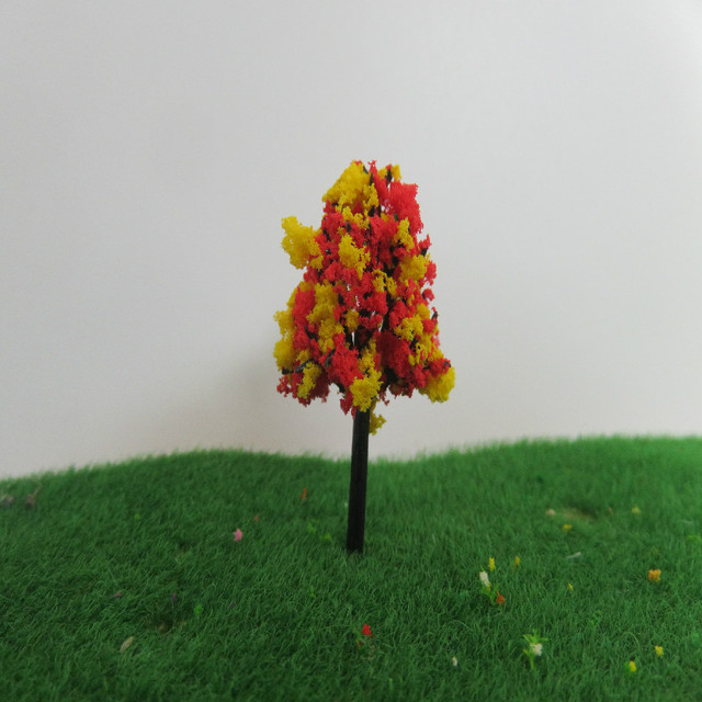 50pcs architecture mini plastic model 4cm red yellow color tree for ho train layout and railway design sand model