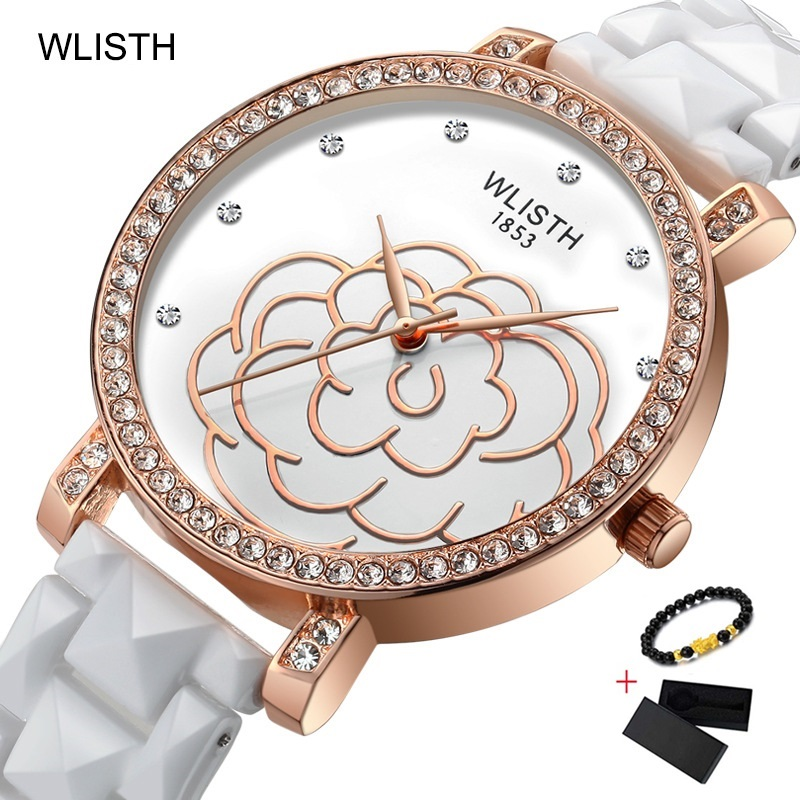 WLISTH Ceramic Women Dress Watch Rose Flower Ladies Quartz Watch Bracelet Woman Wristwatch Female Clock Luxury White Girl Watch